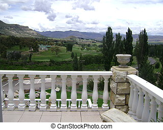 Balcony with landscape scenery - A hotel balcany in...