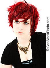 rojo, pelo, Adolescente, niña