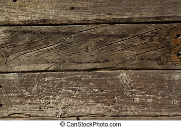 Wood background. - Reclaimed railway sleepers stacked up...