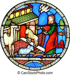Noahs Ark circular Cathedral stained glass window