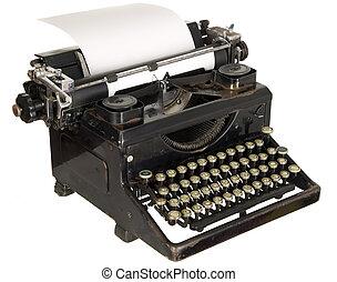 vindima, Máquina escrever, branca, fundo