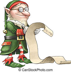 Santas list - Santas little helper checking the naughty and...