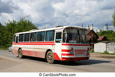 White and red bus - An old white and red bus