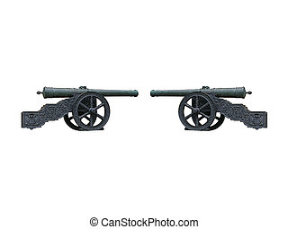 Two vintage cannons opposite each other isolated over white