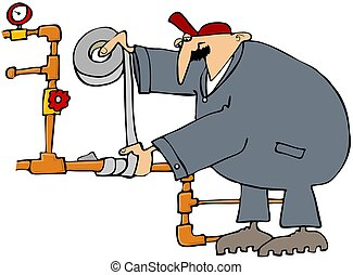 Plumber Fixing A Pipe With Duct Tap - This illustration...