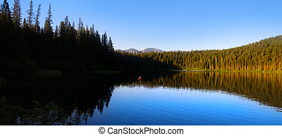 Panoramic view of - Reflection of pine trees in Lion lake