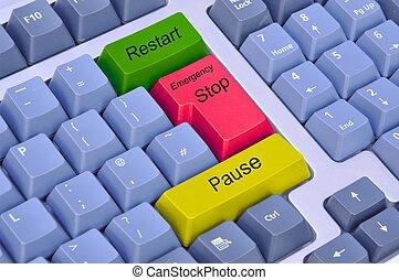 Emergency stop, pause & restart on keyboard