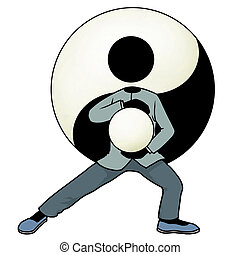 Tai chi yin and yang - Silhouette-man kungfu action icon -...