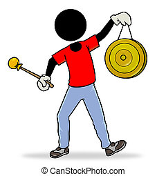 Gong - Silhouette-man action icon - holding a china gong
