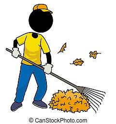 sweeping leaf - Silhouette-man at work - sweeping leaf
