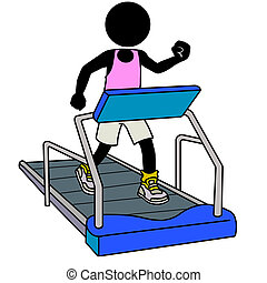 treadmill workout - Silhouette-man in gym icon - running on...