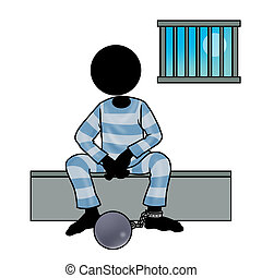prisoner - Silhouette-man in prison