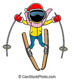 skier - Silhouette-man winter sport icon - skier