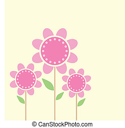 Flowers - Vector of flowers Isolated on yellow background