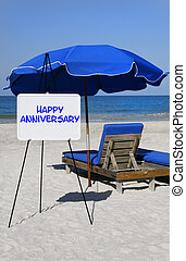 Happy Anniversary Beach Sign - A sign that says Happy...