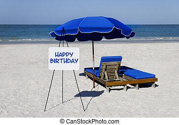Felice, compleanno, spiaggia, segno