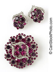 Pink Brooch and Earings - Antique Pink Stone and Diamond...