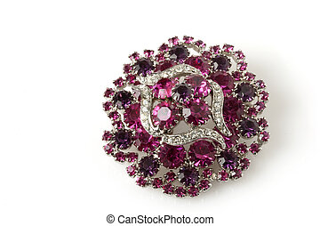Antique Pink Stone Diamond Brooch - Antique Pink Stone and...