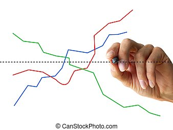chart - hand drawing a chart isolated on white background