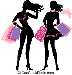 Silhouette of shopping girl - Silhouette of shopping women...