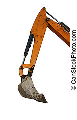 Digger excavator arm isolated white background