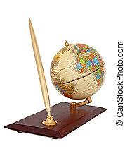 Gold ball pen and globe - Writing office set A gold ball pen...