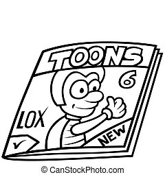 Magazine - Black and White Cartoon illustration, Vector