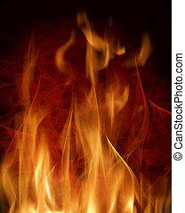 Estratto, fondo, urente, fiamme