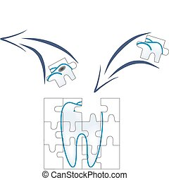 dental care of tooth piece with caries in puzzle concept...
