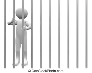 Prisoner - A prisoner in the jail. Conceptual Illustration