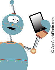 Surprised Cartoon Robot Holding Tab