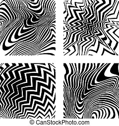 Four optical backgrounds - Four high distorted graphic and...