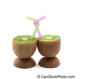 Loving kiwi - Two kiwi with twisted coctail straws isolated...