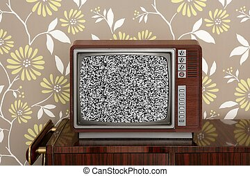 retro wooden tv on wooden vitage 60s furniture floral...