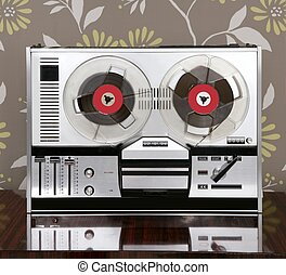 classic retro reel to reel open 60s vintage music recorder