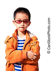 Boy wearing orange jacket - With sunglasses and wearing...
