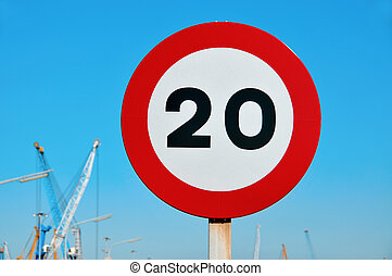 speed limit sign - a speed limit sign in a industrial park