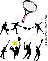 tennis collection silhouettes vector