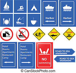 sea danger and information signs vector