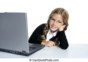 little blond student school girl with laptop computer on...