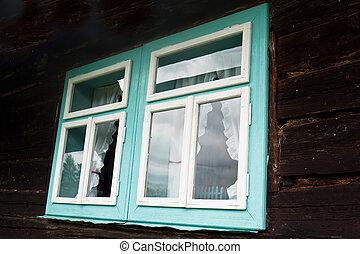 antigas, casa, janelas