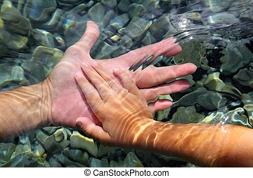 adult and children hands holding underwater wavy distorted