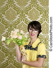 housewife nerd retro woman ugly flowers vase