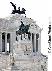 Vittorio Emanuele in Rome, Italy - The Piazza Venezia,...