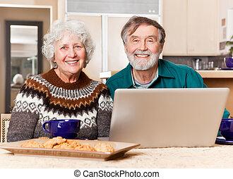 användande,  Senior, dator, par