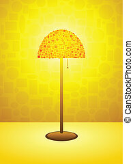 Gold Retro lamp background - Stylized retro lamp on a warm...