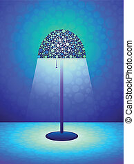 Blue Retro lamp background - Stylized retro lamp on a cool...