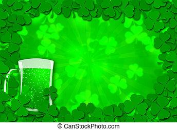Shamrock Leaves Border Glass of Beer for St Patricks Day