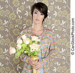 retro woman portrait 60s fashion vintage flowers vase...