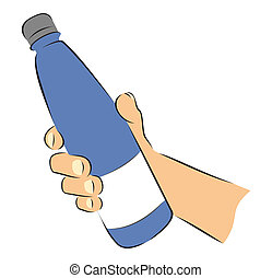 Bottle in hand - Simple sketch of hand grabbing bottle